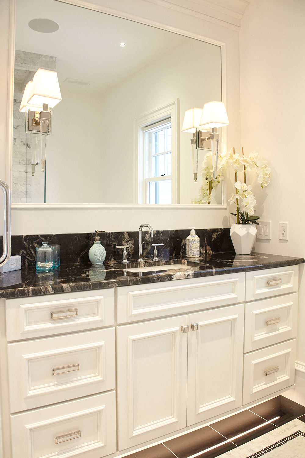 White Bathroom with Granite