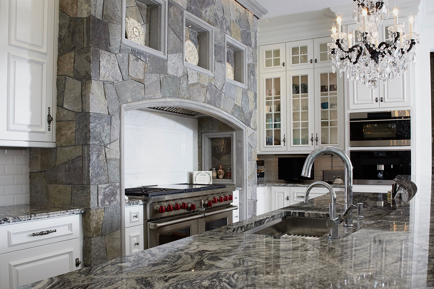Kitchen with Range Stonework Stone Surround