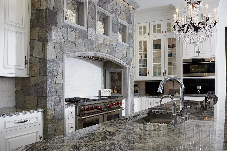 Kitchen with Range Stonework Stone Surround