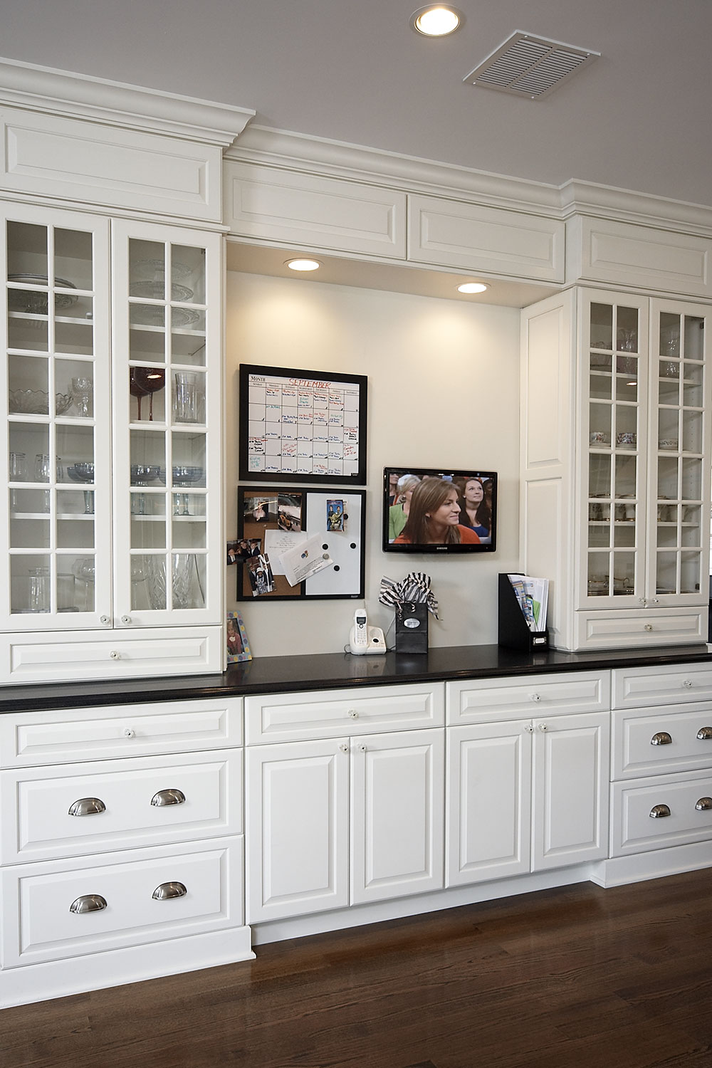 White Kitchen Built-In China Cabinet and TV