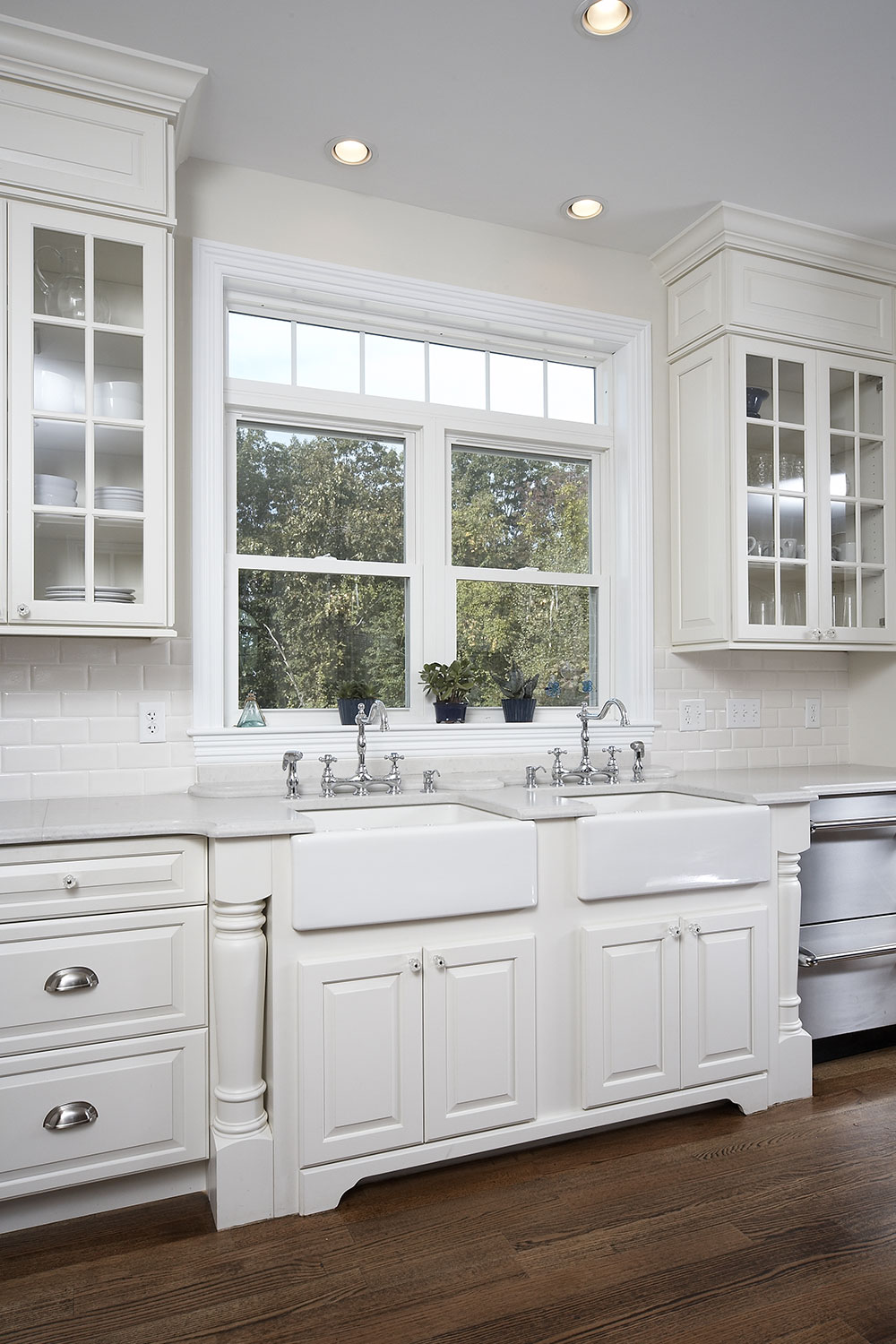 White Kitchen with Double Farmer's Sink