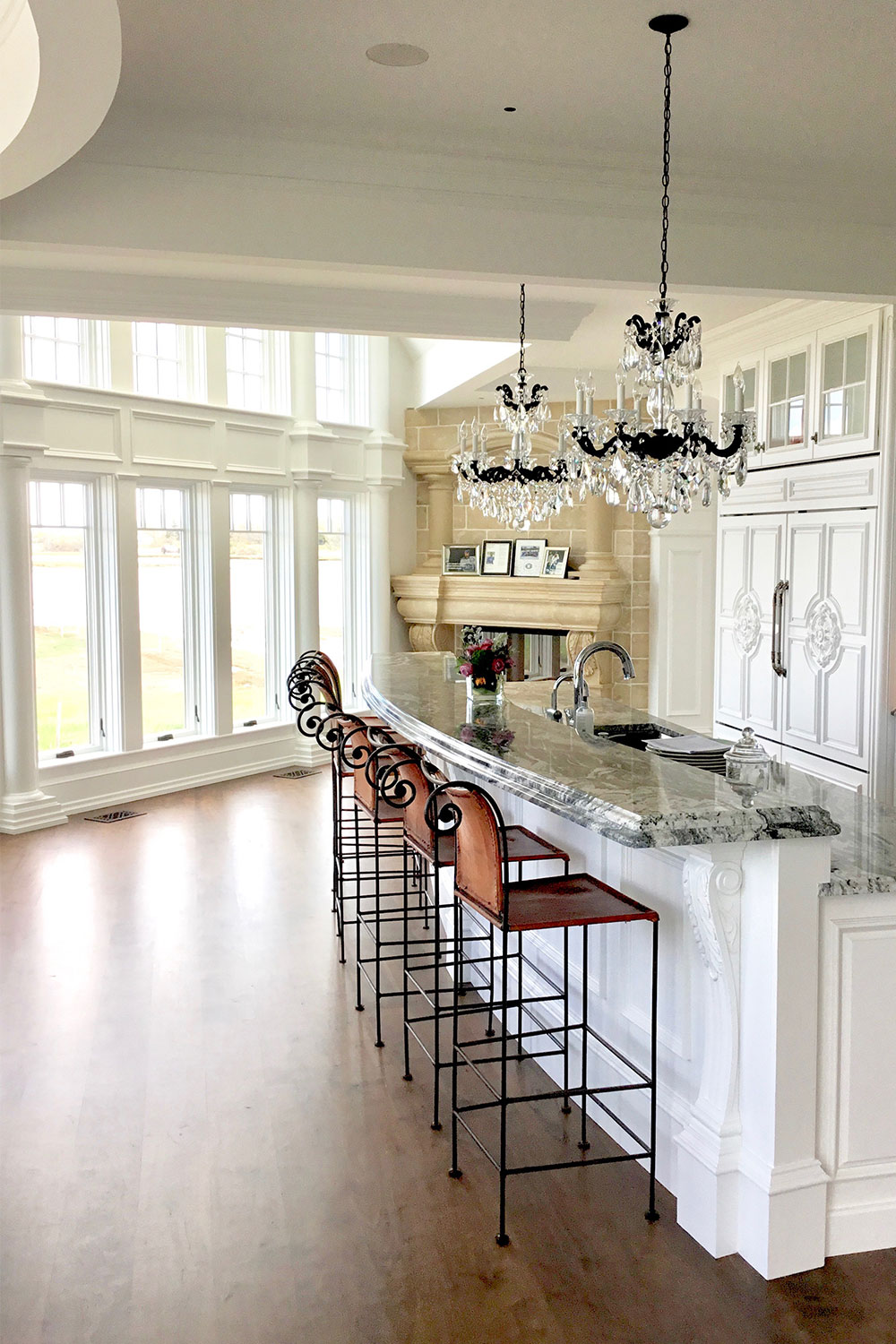 White Kitchen With Floor-to-Ceiling Windows