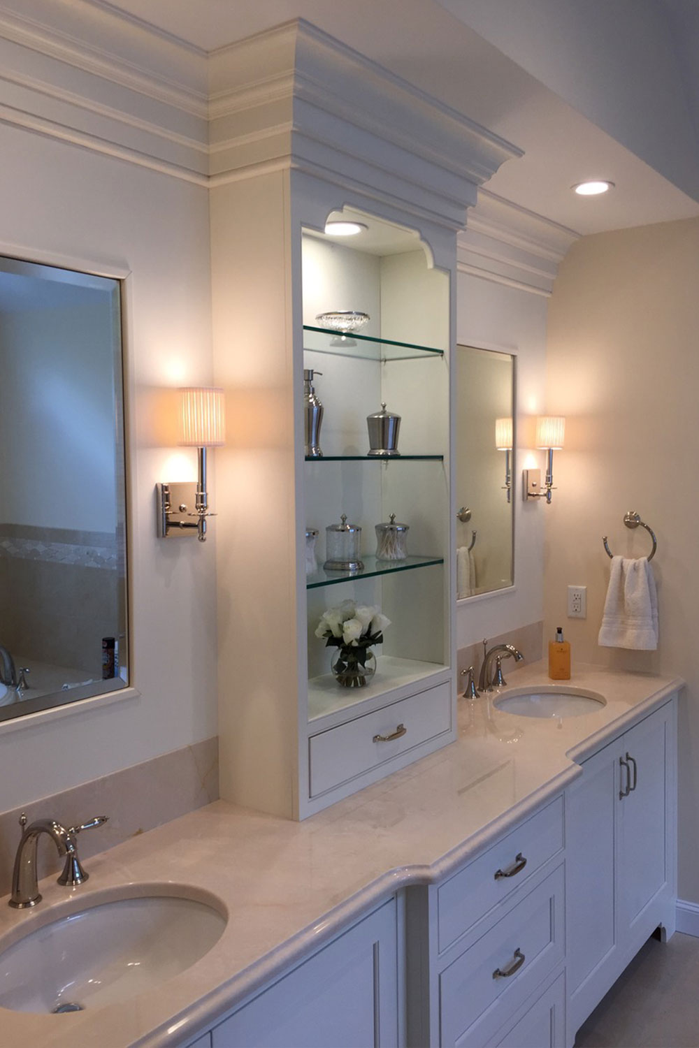 Bathroom White Cabinets Built-In Shelf Glass