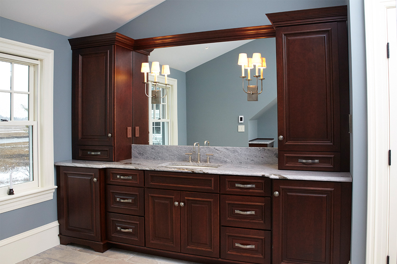 His Bathroom Dark Cabinets