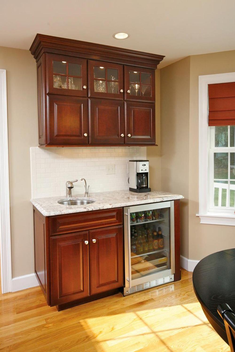 Wet Bar Dark Cabinets Natural Light