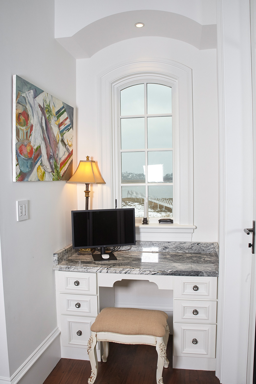 White Cabinets Built-In Office Desk