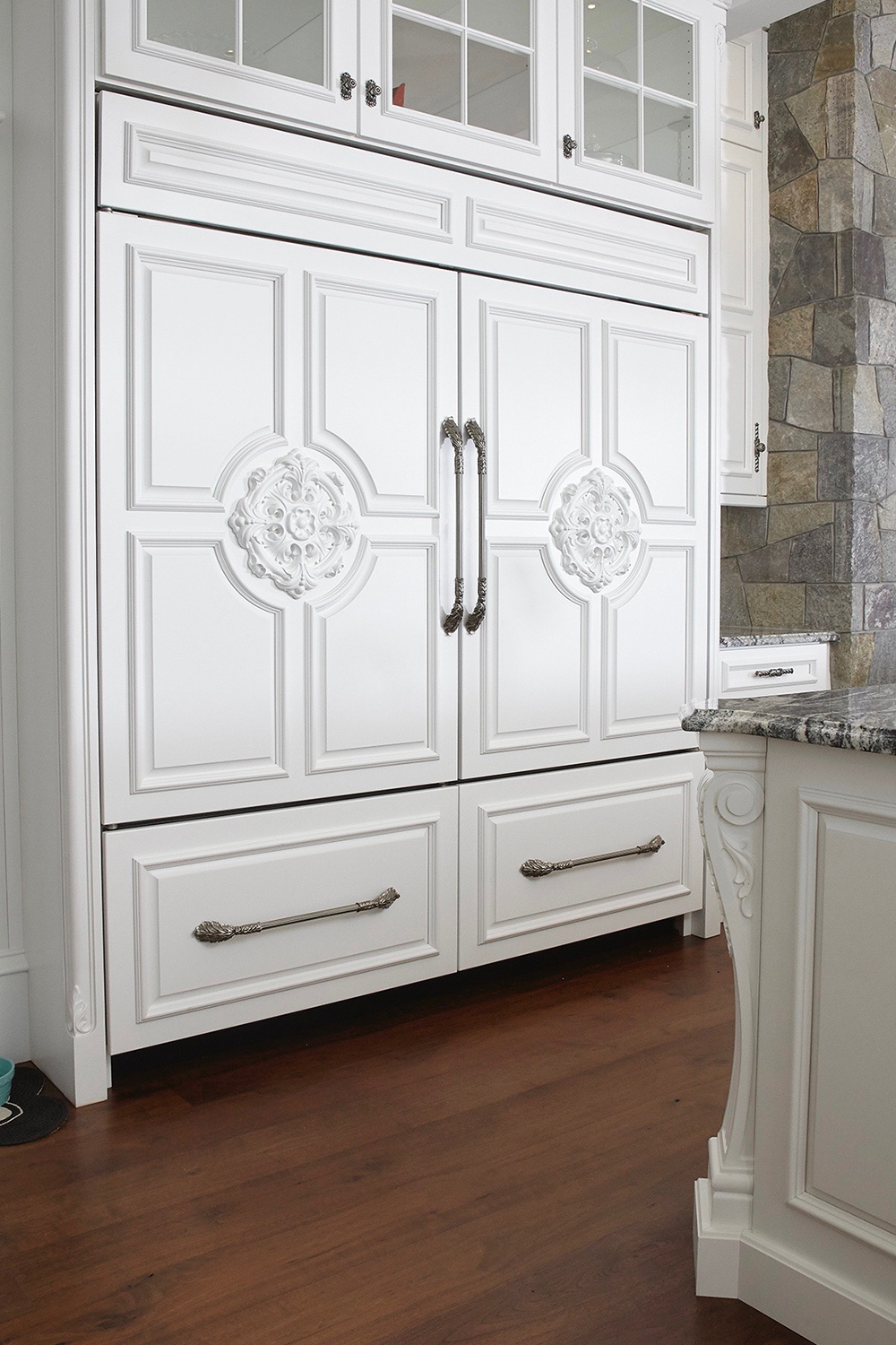 White Kitchen Custom Refrigerator Face