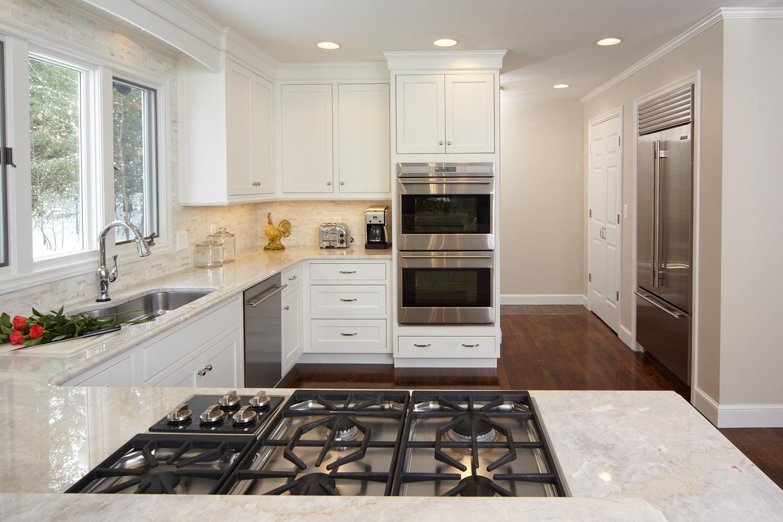 White Kitchen Dark Hardwood Floor