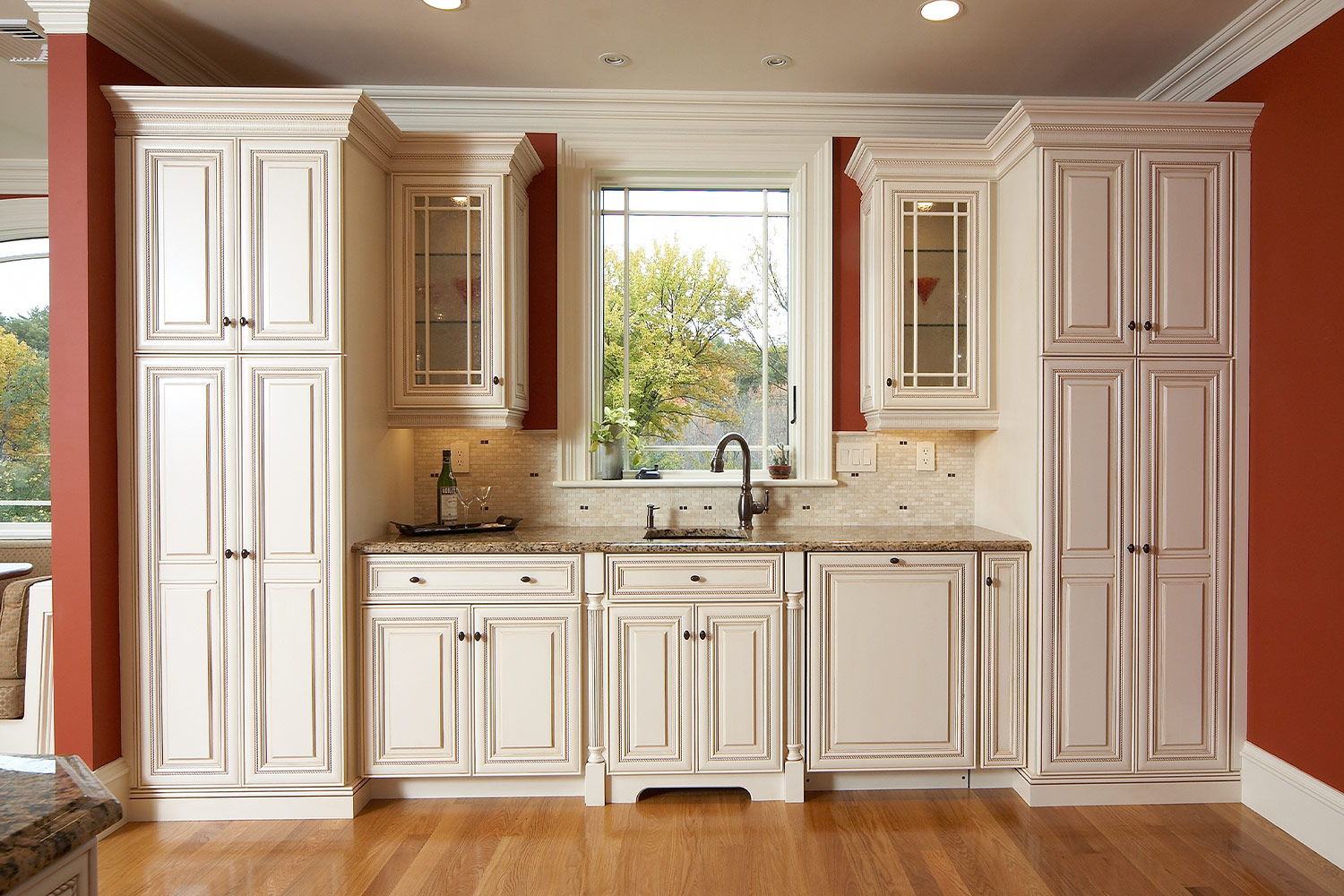 White Kitchen Window Display Cabinets